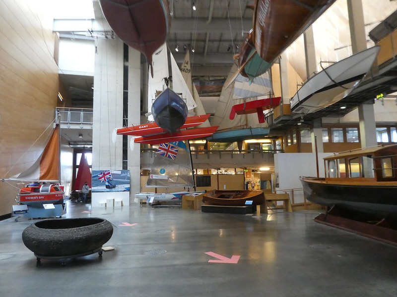 Boats on display in the main hall of the National Maritime Museum Cornwall