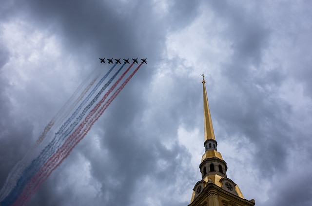 Flying tricolor. Russian flag.