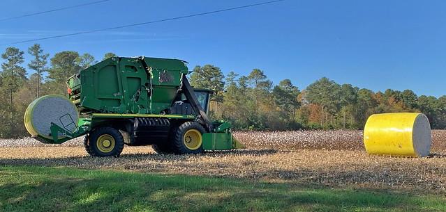 John Deere Cotton Baler Picker at Work-Shirley Plantation-Charles City County Virginia 07615-1