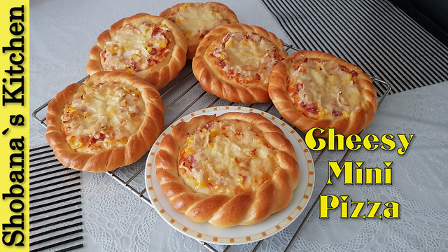 Cheesy Mini Bread Pizza Recipe By Shobana`s Kitchen