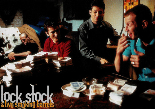 Jason Statham, Nick Moran, Dexter Fletcher, and Jason Flemyng in Lock, Stock and Two Smoking Barrels (1998)