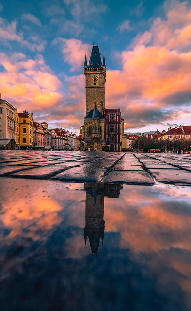 Sunrise in the old town square