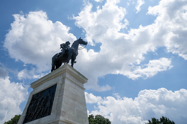 Washington, DC - August 8, 2019: Equestrian statue of General Ulysses Simpson Grant in front of the United States Capitol building