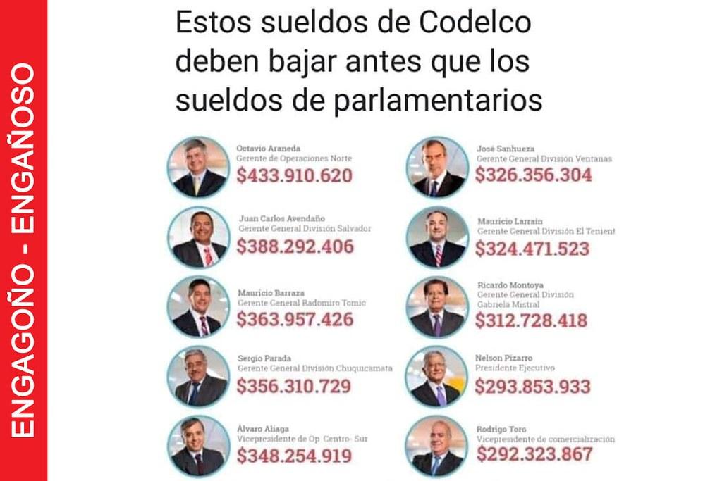 Imagen viralizada que muestra supuestos sueldos de gerencia de Codelco