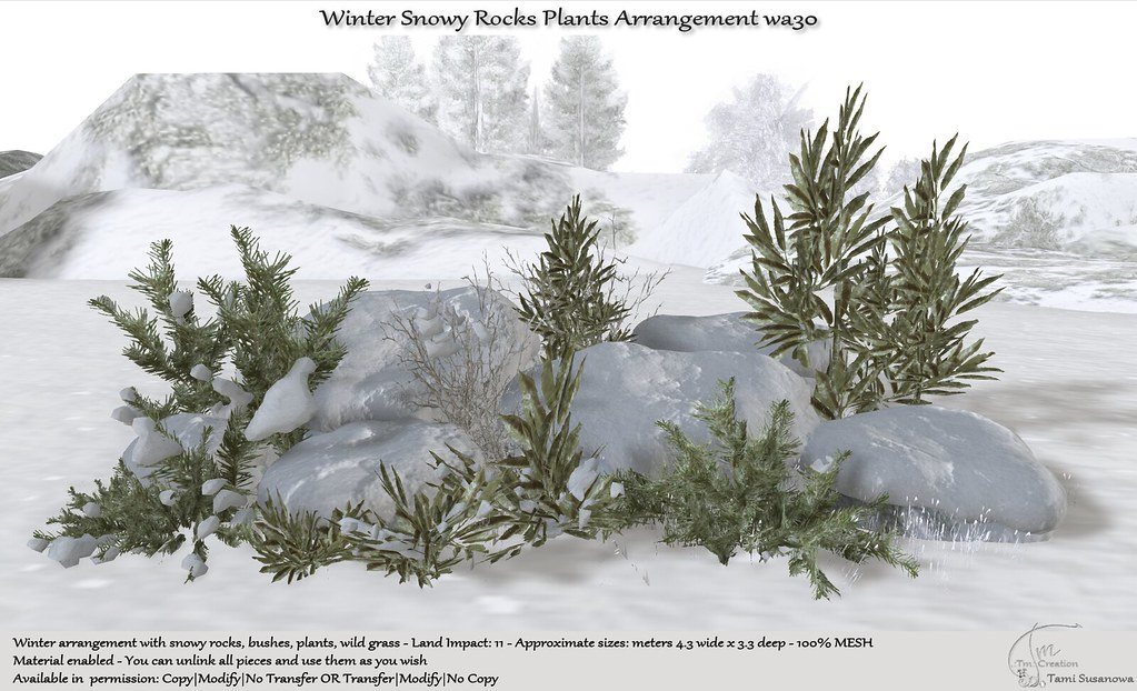 .:Tm:.Creation Winter Snowy Rocks Plants Arrangement wa30