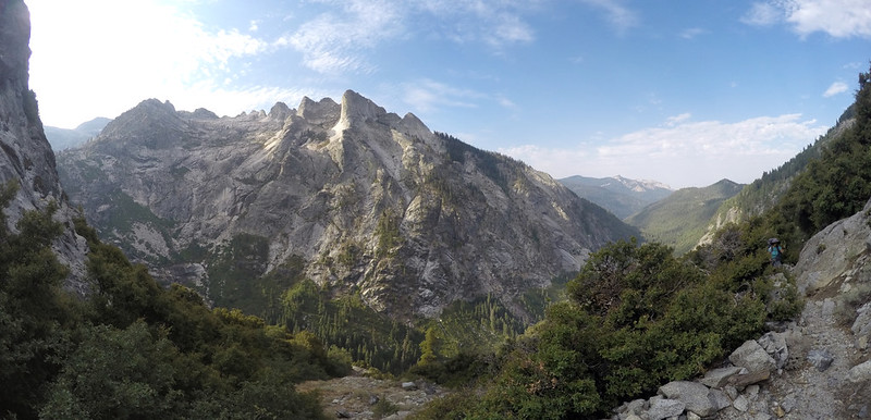 Wide-angle panorama of the Middle Fork Kaweah River Valley from the High Sierra Trail