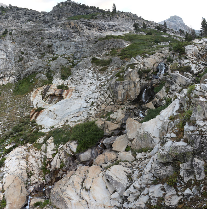 The waterfalls on Hamilton Lakes Creek from the High Sierra Trail