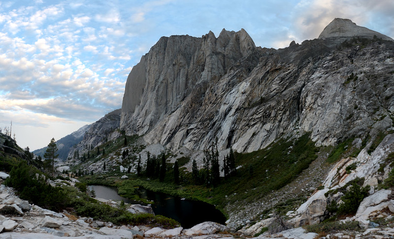 Lower Hamilton Lake lies beneath Angel Wings, with Cherubim Dome on the far right, from the High Sierra Trail
