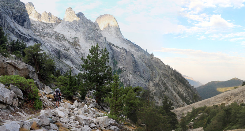 Glaciated granite domes on the south wall of the Middle Fork Kaweah River valley on the High Sierra Trail