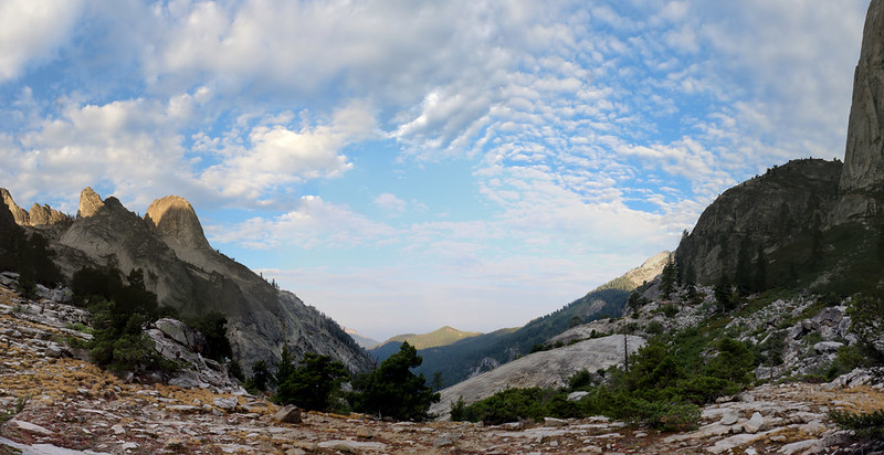 Blue skies and pretty clouds above the Middle Fork Kaweah River valley from the High Sierra Trail
