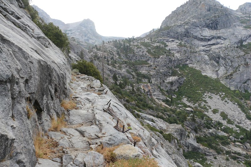 Bent steel rods in an avalanche path on the High Sierra Trail