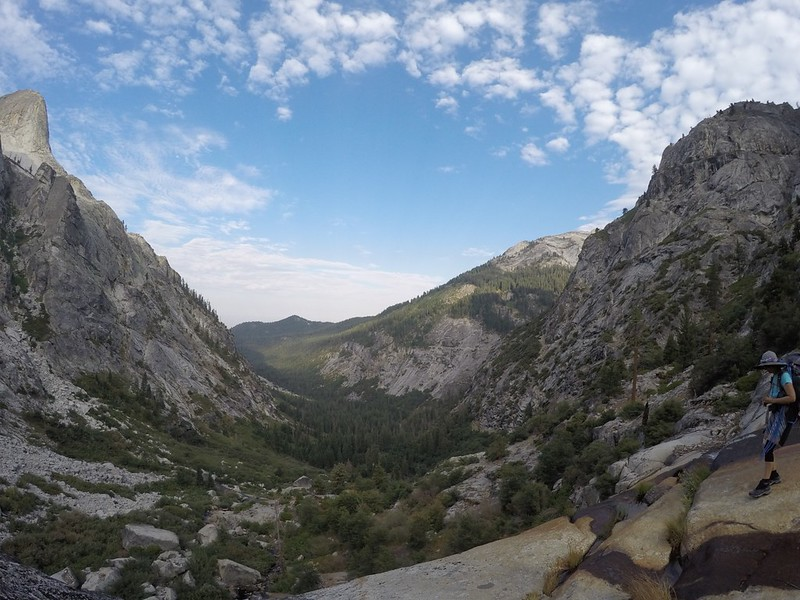 A view over the top of the waterfall looking down into the Middle Fork Kaweah River Valley from the High Sierra Trail