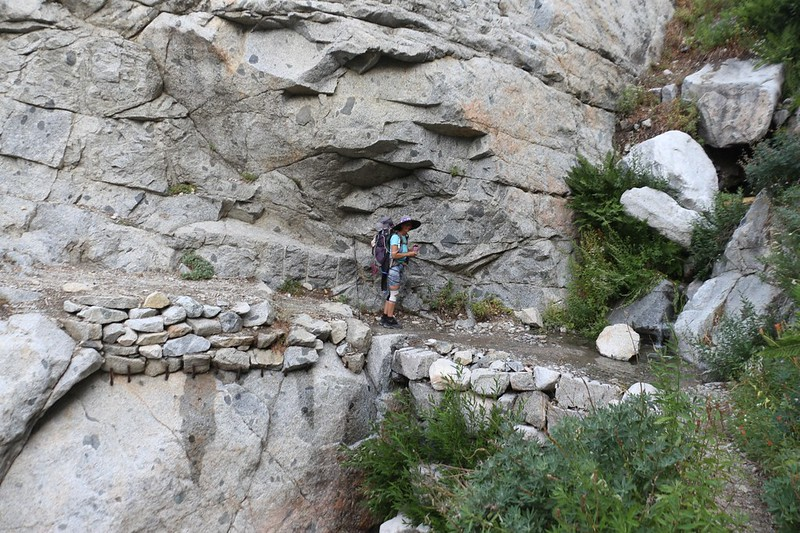 It took a huge effort to build the High Sierra Trail - the trail is being held up by steel rods sunk into the granite wall