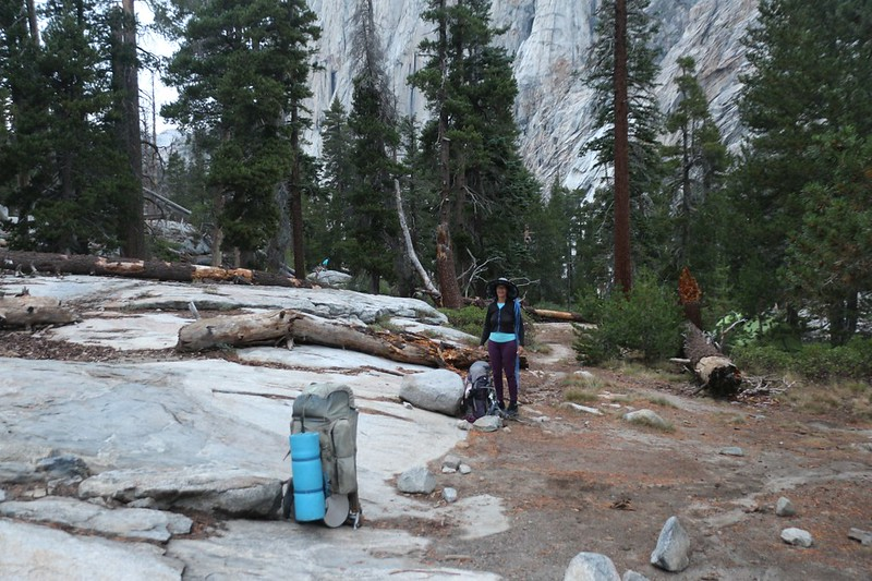 All packed and ready to go, on a mostly downhill hike west from Upper Hamilton Lake on the High Sierra Trail