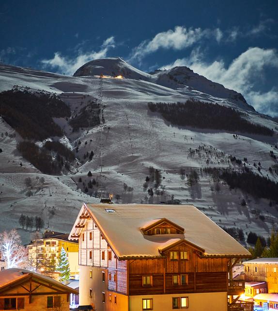 Moonrise in ski resort