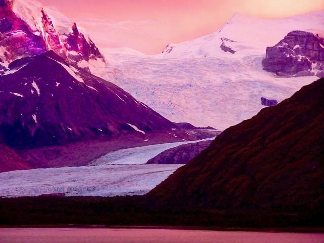 Sunrise over the Glacier on Magellan Strait