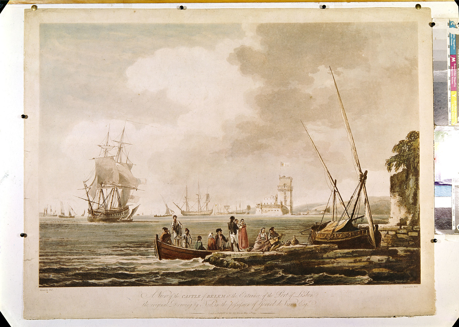 «A View of the Castle of Belem at the Entrance to the Port of Lisbon» (Noël, Wells (grav.), c. 1793)
