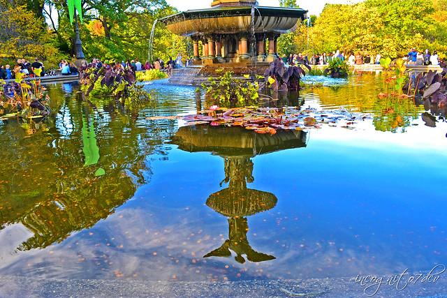 Bethesda Fountain Reflections Central Park Manhattan New York City NY P00714 DSC_1416