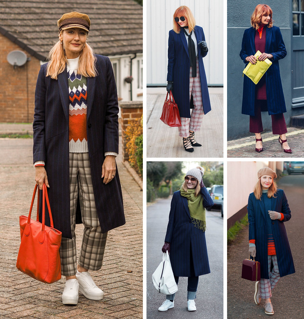 5 Ways to Wear a Navy Pinstripe Tailored Coat in Autumn/Winter | Not Dressed As Lamb, Over 40 Style