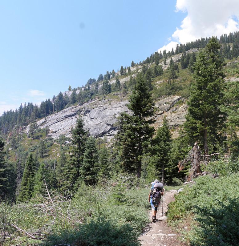 Heading west, downhill toward Buck Creek on the High Sierra Trail