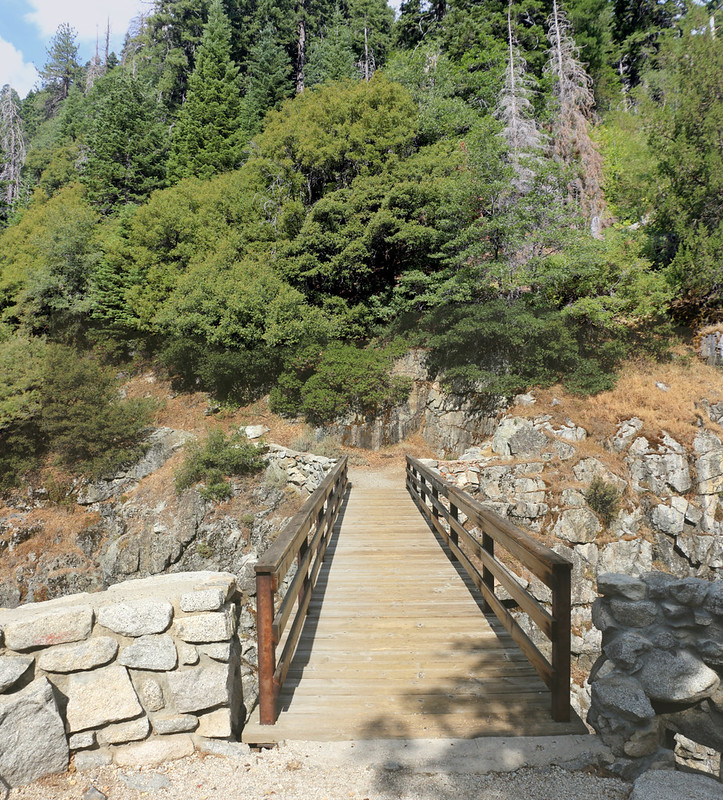 The wood and metal footbridge on the High Sierra Trail where it crosses Lone Pine Meadow Creek