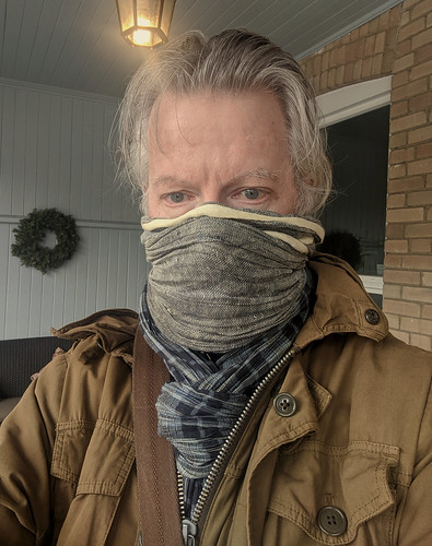 Risking a No Frills run. Bandit chic. Before owning a real mask. Still cold | by thomas mcgreevy