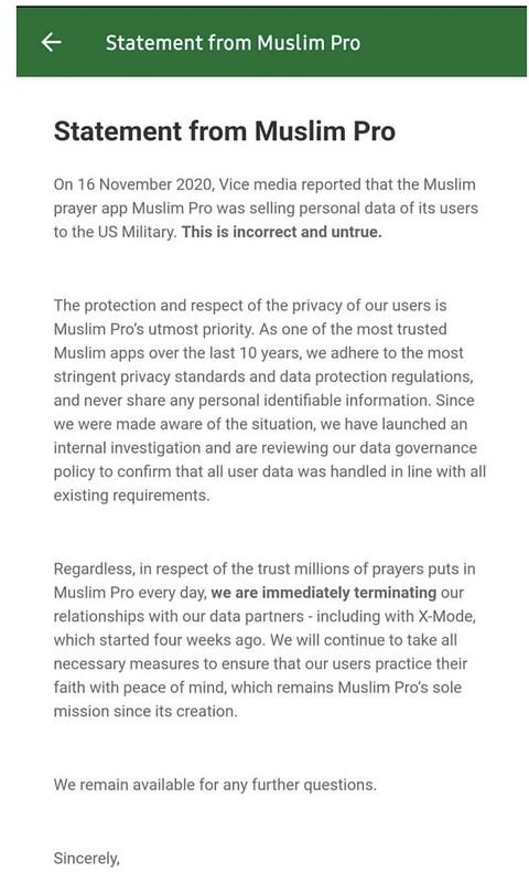 Muslim Pro Nafi Penjualan Data, Namun Akui Hubungan Urusniaga Bersama X-Mode