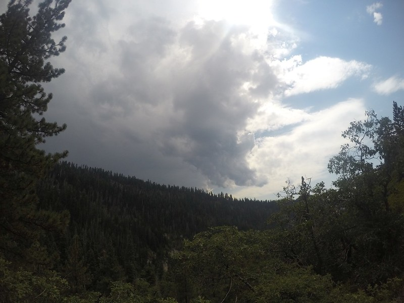 Towering thunderheads were beginning to form over the high peaks to the east, but we were hiking west, luckily