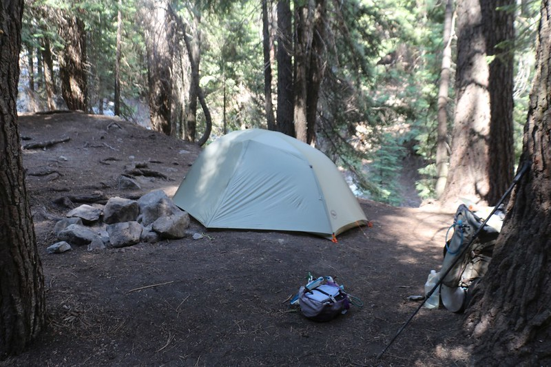 Our tent and campsite just above Nine Mile Creek on the High Sierra Trail - we took a nap right away