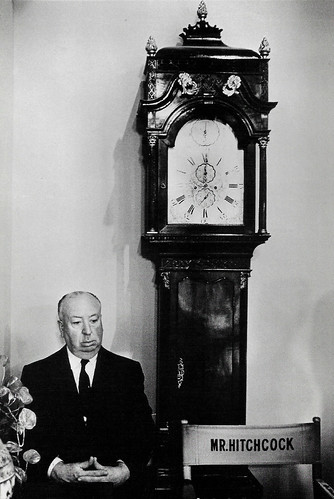 Alfred Hitchcock on the set of Marnie (1964)