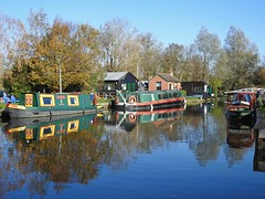 Canal boats at Paper Mill lock, Little Baddow