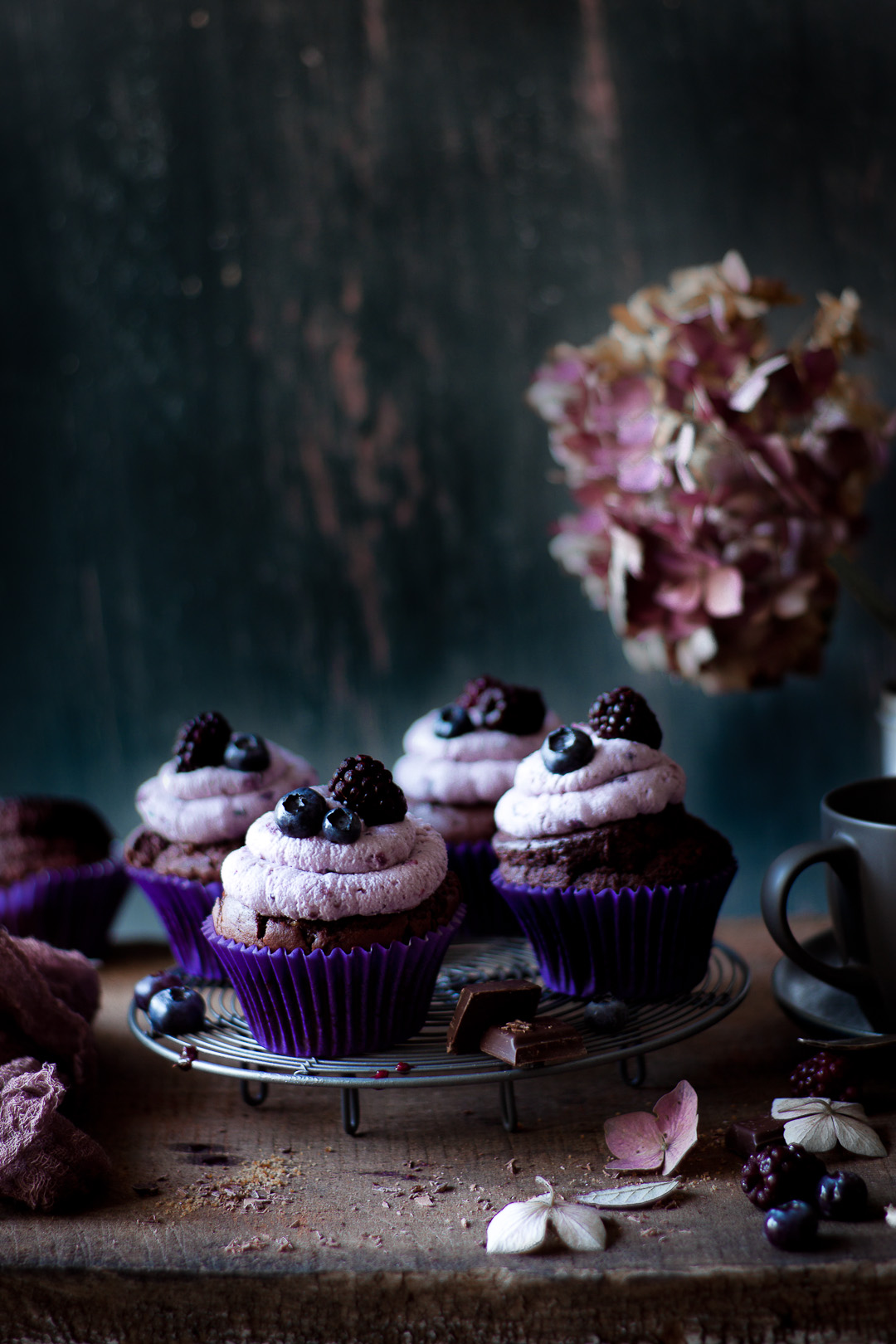 chocolate cupcakes with berry frosting