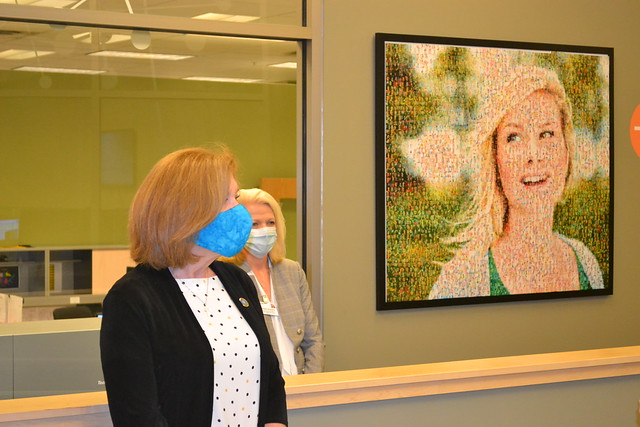 Rachel Sherard on the right provides a tour of the Avera Health facility to USDA Deputy Under Secretary for Rural Development Bette Brand