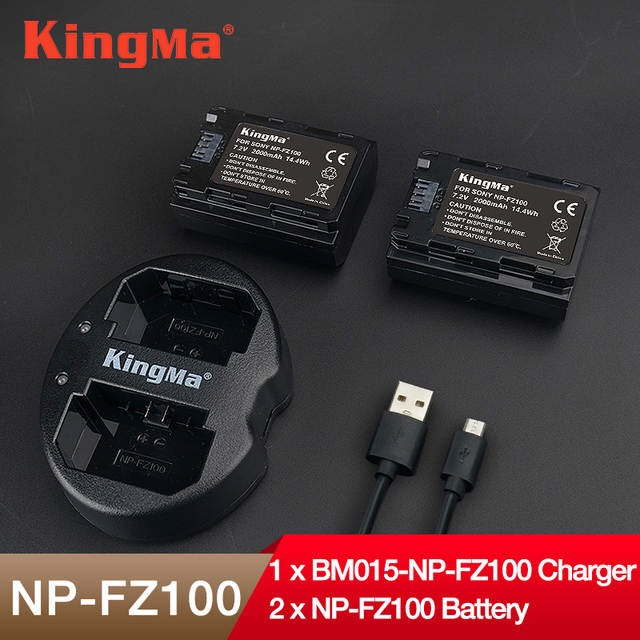 Đốc sạc đôi + 2 Pin sạc NP-FZ100 cho Sony A9 A7III A7RIII - Hàng chính hãng KINGMA