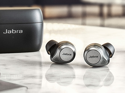 The Jabra Elite 85t true wireless earbuds.