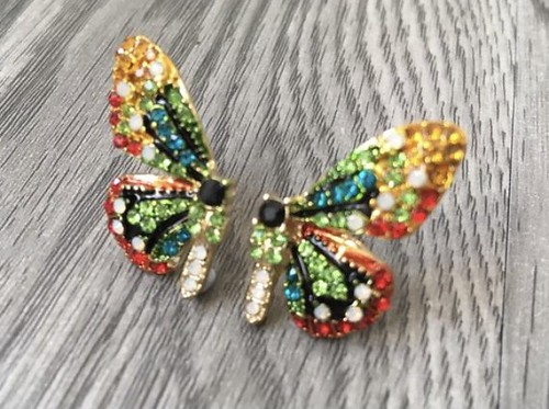 Colorful butterfly rhinestones crystals earrings | by weddingvalle