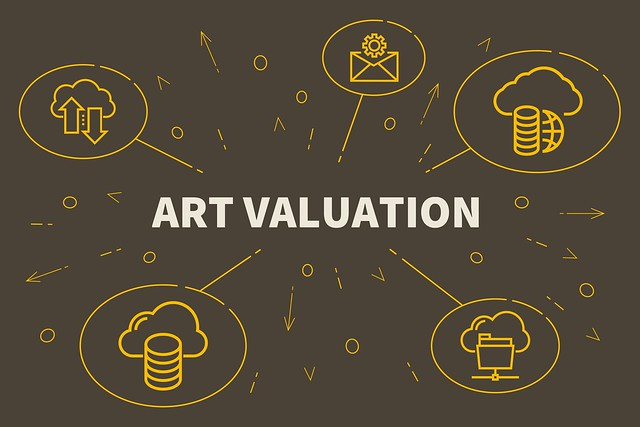Business illustration showing the concept of art valuation