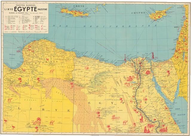 Standard and Narrow Gauge Railways of Libya, Egypt, Palestine, Jordan and Lebanon - map (1942)