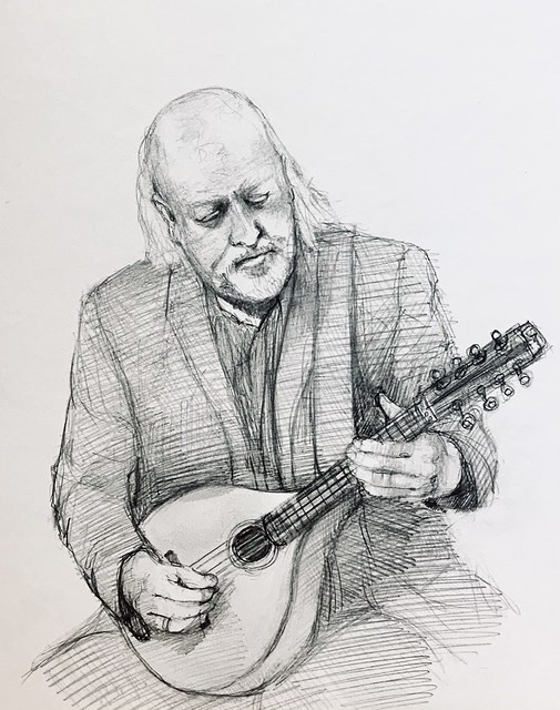 Sketch portrait of Bill Bailey, playing the Mandola. Rotring T 05 Pencil drawing by jmsw on white card. After seeing him playing on video.