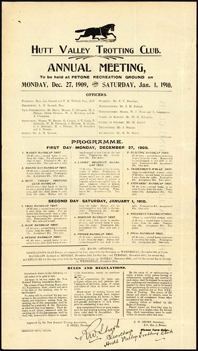 <p>On December 27 1910 Hutt Valley Hack Racing Club held their annual races in Petone<br /> <br /> Archives New Zealand Reference: ACGO 8333 IA1 1910/3126<br /> <br /> Material from Archives New Zealand Te Rua Mahara o te Kāwanatanga</p>