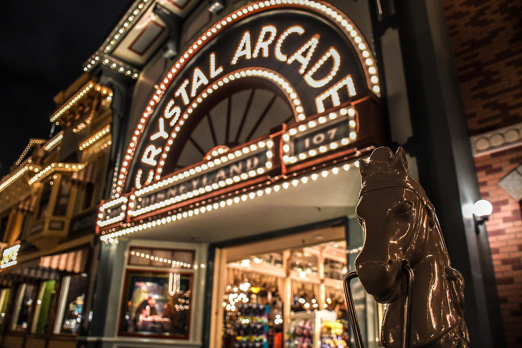 Crystal Arcade Horse statue night DL