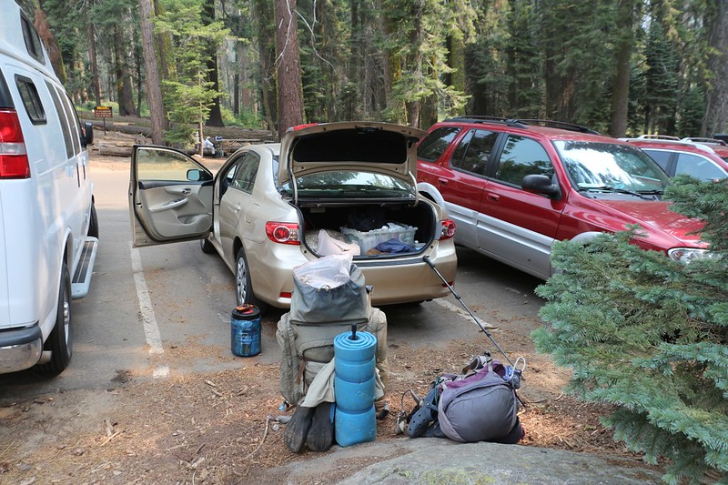 We arrived at our car in the Crescent Meadow High Sierra Trail trailhead parking lot - it was nice to put down our packs