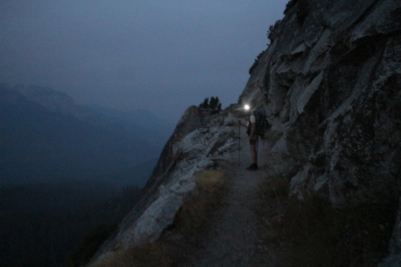 An hour later, we were still hiking in the early light of dawn, with a smokey haze over the area, on the High Sierra Trail