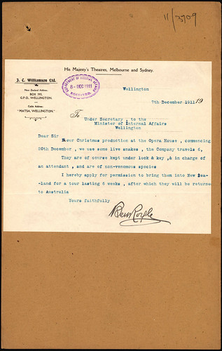 "<p>A request was made to bring live snakes into New Zealand on 7 December 1911.<br /> <br /> J C Williamson Ltd, a travelling Australian theatre company, wrote that it used non-venomous snakes in it Christmas production, The Speckled Band, which was scheduled to perform at Wellington's Opera House and other New Zealand venues. The show was billed as ""A new Sherlock Holmes adventure – a masterpiece from the creative genius of Conan Doyle"".<br /> <br /> Permission was granted for the snakes to tour New Zealand for six weeks after which they returned to Australia.<br /> <br /> Shown here is the letter from J C Williamson Ltd.<br /> <br /> Archives Reference: ACGO 8333 IA1/1184/[23] 1911/3709<br /> <a href=""https://www.archway.archives.govt.nz/ViewFullItem.do?code=24822912"" rel=""noreferrer nofollow"">www.archway.archives.govt.nz/ViewFullItem.do?code=24822912</a><br /> <br /> For updates on our On This Day series and news from Archives New Zealand, follow us on Twitter <a href=""http://www.twitter.com/ArchivesNZ"" rel=""noreferrer nofollow"">www.twitter.com/ArchivesNZ</a> <br /> <br /> Material from Archives New Zealand Te Rua Mahara o te Kāwanatanga</p>"