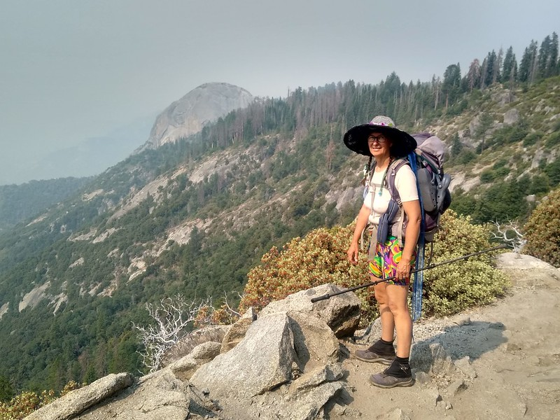 Moro Rock appears through the haze as we turn the final corner on the High Sierra Trail at Eagle View