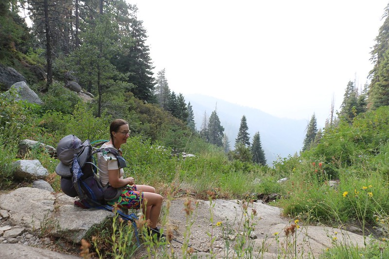 We took a break at 8am at Panther Creek, but there wasn't much of a view due to the smoke, on the High Sierra Trail