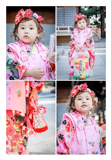 七五三 3歳の女の子 ヘアスタイル:頭に大きな赤いリボン