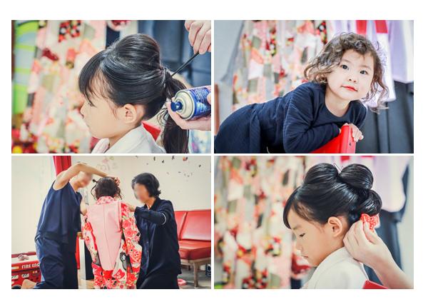 七五三 自宅で日本髪を結う 7才の女の子