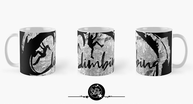 Climbing mugs in black with silver gray rock structure mountain wall