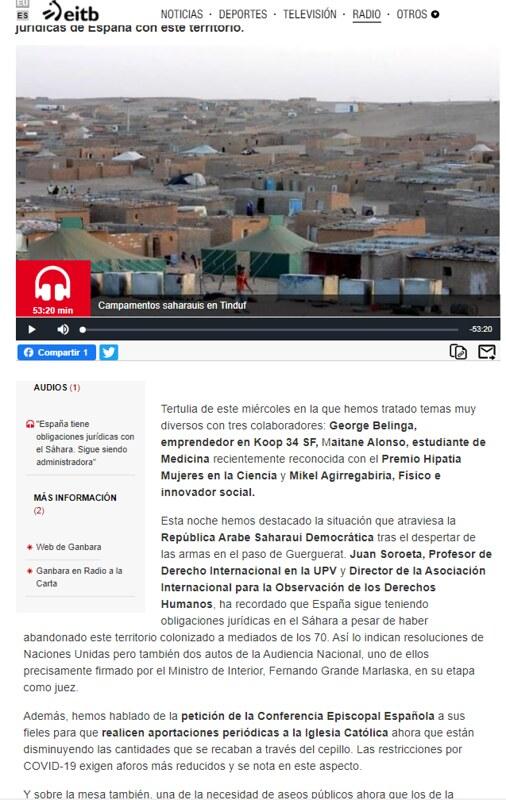 Sexta participación en la Tertulia Social de Ganbara de Radio Euskadi en 2020